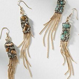 Anthropologie Fringed Stone Drop Earrings